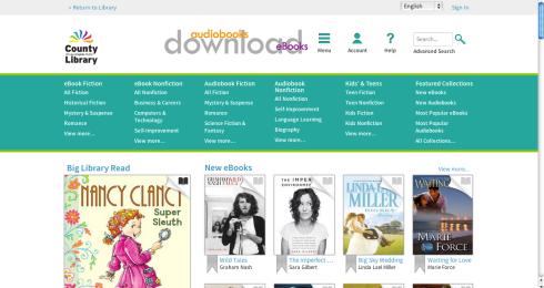 Most libraries lend ebooks through My Media Mall, which looks something like this, and once you get the hang of it, is very easy to use. Plus it's open 24/7, 365 days a year.